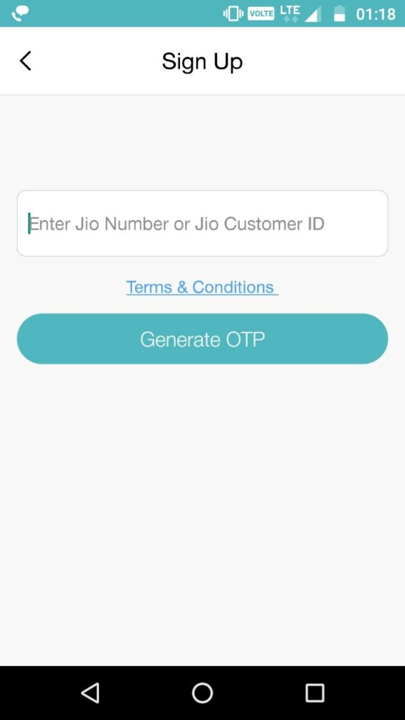 Sign up to MyJio app