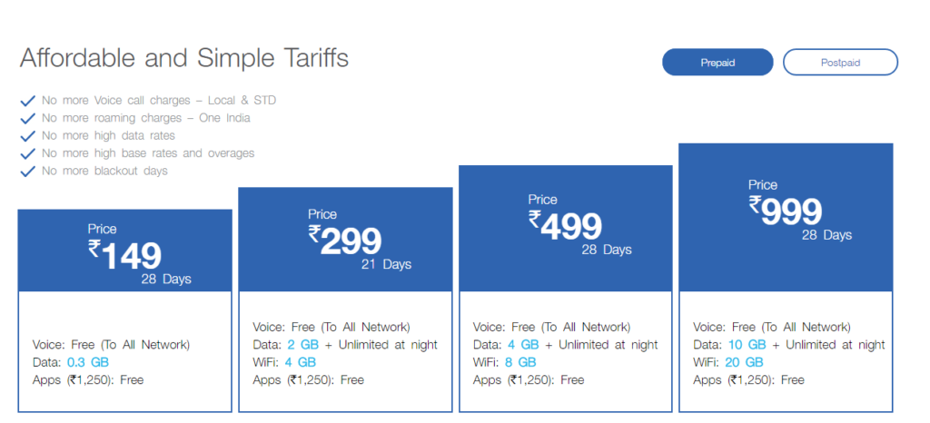 JIO 4G tariff plans from 2017
