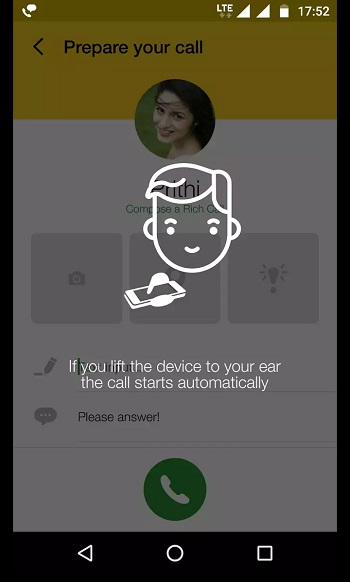 lift phone to make voice call from JIO