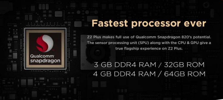 z2 Plus processor, RAM, Storage