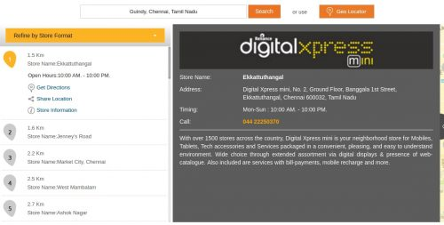 Jio Digital Xpress mini store locator