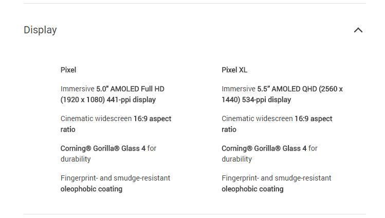 google pixel specfications
