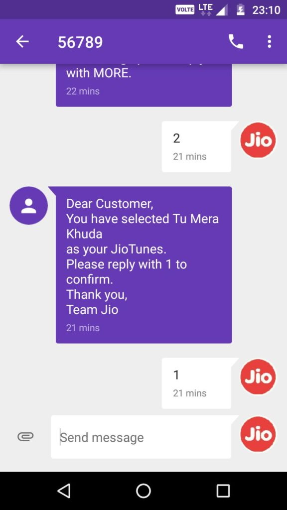 Jio Caller tune activation