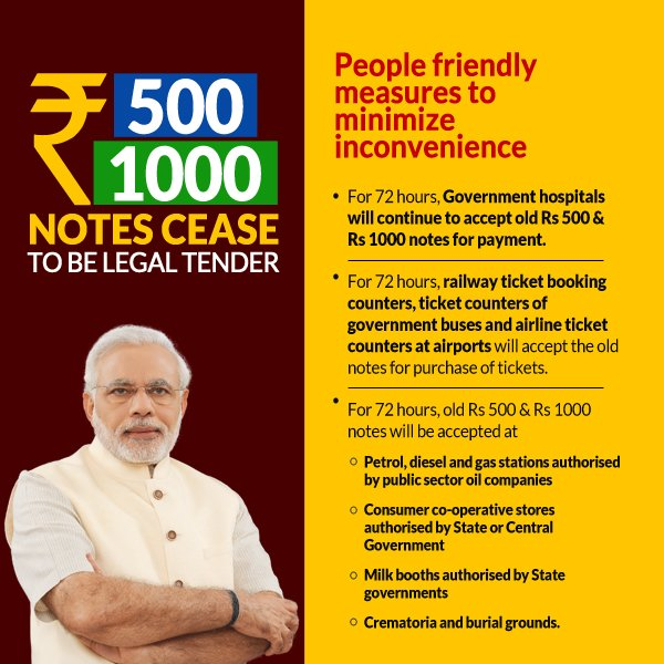 500 and 1000 note emergency uses
