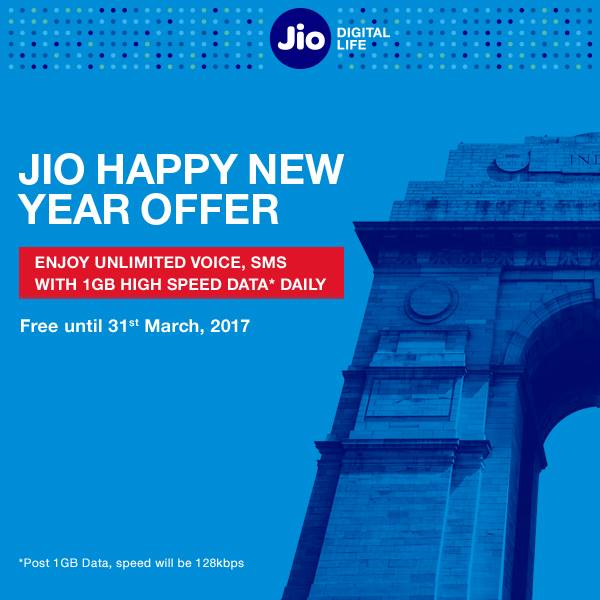 Jio Happy New Year 2017 offer