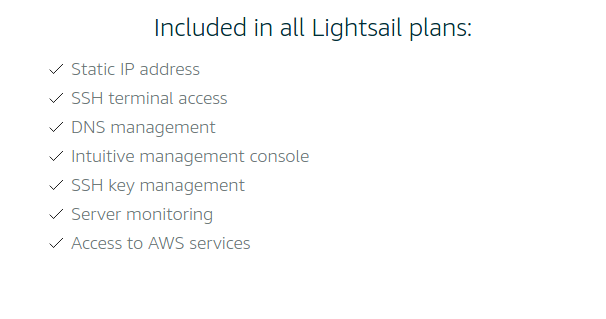 AWS Lightsail features