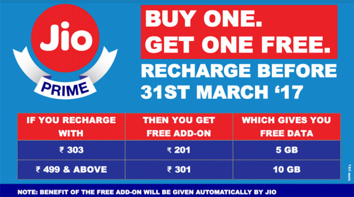 Jio Buy 1 Get 1 Free offer