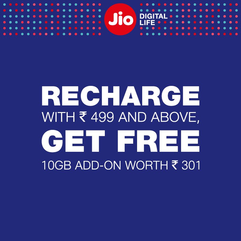 Jio Rs 499 Recharge offer