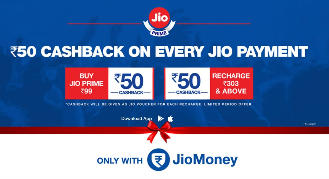 JioMoney offer: Rs 50 Cashback on any Jio recharge