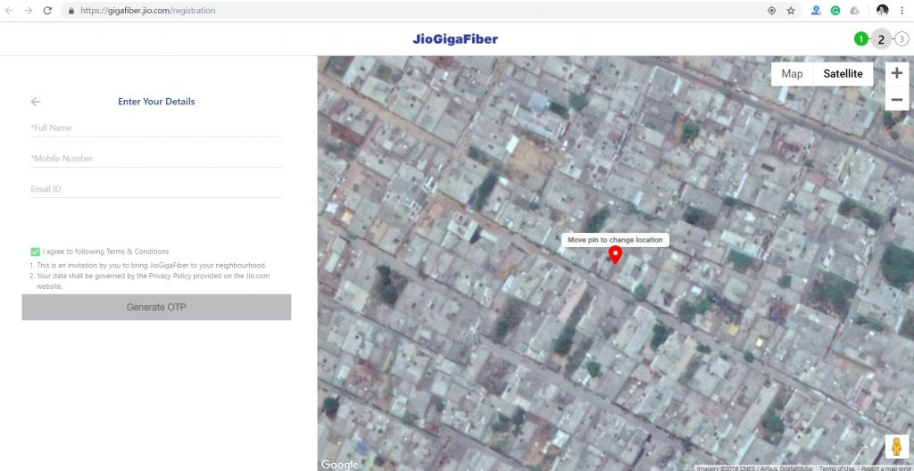 How to register for Jio GigaFiber boradband connection in Delhi