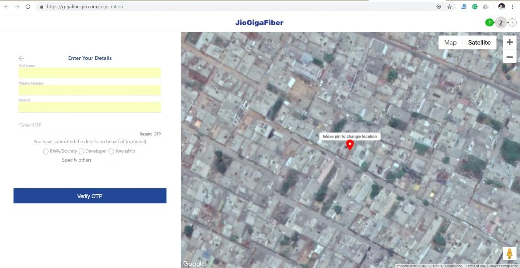 How to register for JioGigaFiber boradband connection in Nashik
